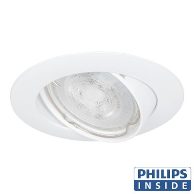 Philips Dim Tone LED Inbouw spot 4,9 watt kantelbaar 50 mm rond wit in afgeronde behuizing