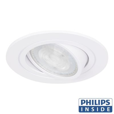Philips Dim Tone LED Inbouw spot 4,9 watt kantelbaar 50 mm rond wit