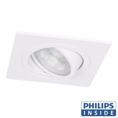 Philips Dim Tone LED Inbouw spot 4,9 watt kantelbaar 50 mm vierkant wit