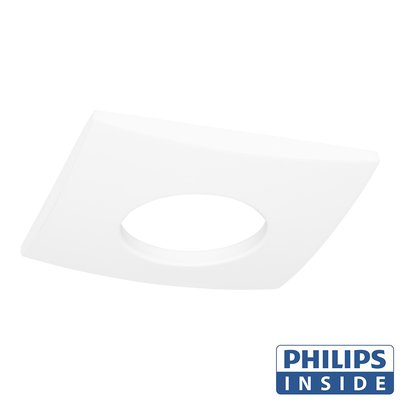 Philips  LED Inbouw spot 5 watt niet kantelbaar badkamer vierkant wit IP44