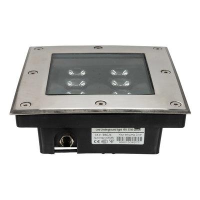 LED grondspot 6 watt vierkant zilver IP65