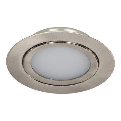 Dimbare 5 watt Extreem lage ronde (15 mm) mini LED inbouw spot in nikkel behuizing, IP44 ook voor in de badkamer.