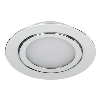 Dimbare 5 watt Extreem lage ronde (15 mm) mini LED inbouw spot in chromen behuizing, IP44 ook voor in de badkamer.