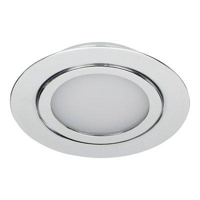 Niet Dimbare 5 watt Extreem lage ronde (15 mm) mini LED inbouw spot in chromen behuizing, IP44 ook voor in de badkamer.