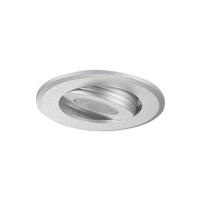 LED Inbouw Spotje Badkamer Geschikt IP 44 Extra Warm Wit 2700 Kelvin 3 Watt vervangt 50 Watt Inbouw Diepte ↕ 25 mm Zilveren behuizing.