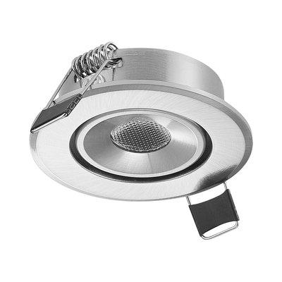 LED Inbouw Spot Dimbaar Speciaal voor binnen IP 21 Extra Warm Wit 2700 Kelvin 1 Watt vervangt 20 Watt Inbouw Diepte ↕ 30 mm Nikkel behuizing.