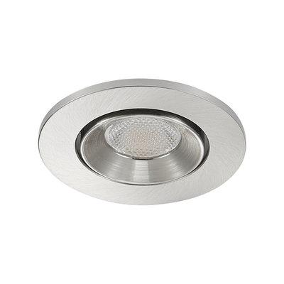 LED Inbouw Spot Dimbaar Badkamer Geschikt IP 44 Extra Warm Wit 2700 Kelvin 3 Watt vervangt 50 Watt Inbouw Diepte ↕ 35 mm Nikkel behuizing.