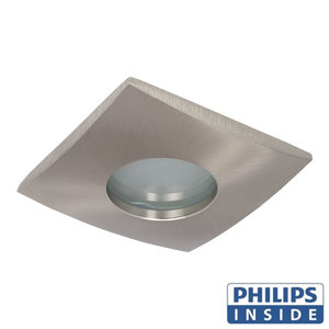Philips GU10 LED Inbouw Spot Vierkant London Satijn Nikkel