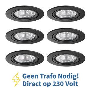 Voordeel set 6 stuks LED Inbouw Spot 230 Volt Dimbaar Zwart