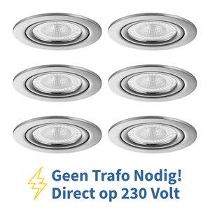 Voordeel set 6 stuks LED Inbouw Spot 230 Volt Dimbaar Nikkel
