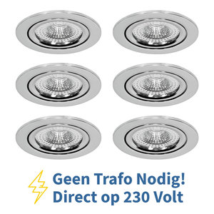 Voordeel set 6 stuks LED Inbouw Spot 230 Volt Dimbaar Chroom