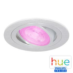 HUE Philips White & Color GU10 LED Inbouwspot Inês Aluminium Geborsteld