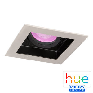HUE Philips White & Color GU10 LED Inbouw spot Vierkant Sao Paulo Satijn Nikkel