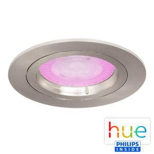 HUE Philips White & Color GU10 LED Inbouw Spot Amsterdam Satijn Nikkel