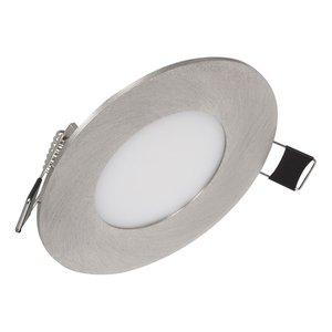 Niet dimbare Extreem lage (25mm) inbouwdiepte. Ronde niet dimbare LED inbouwspot 3 watt in zilver / chroom behuizing, ook voor badkamer.