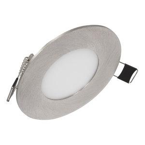 Dimbare Extreem lage (25mm) inbouwdiepte. Ronde dimbare LED inbouwspot 3 watt in zilver behuizing, ook voor badkamer.