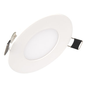 Niet dimbare Extreem lage (25mm) inbouwdiepte. Ronde niet dimbare LED inbouwspot 15 watt in witte behuizing, ook voor badkamer.