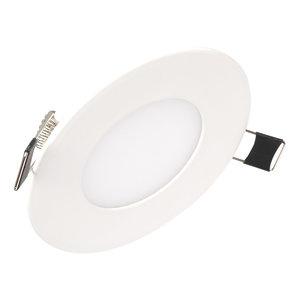 Dimbare Extreem lage (25mm) inbouwdiepte. Ronde dimbare LED inbouwspot 3 watt in witte behuizing, ook voor badkamer.