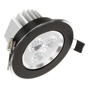 Mooie Design Led Inbouwspots 3 watt zwart met mooi afgewerkt zilveren rand, kantelbaar en warm witte lichtkleur