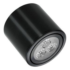 Dimbare cilinder vormige LED opbouw spot 3 watt in zwarte behuizing.