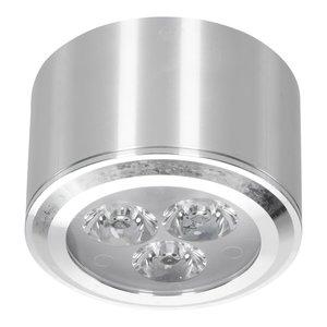 Lage dimbare cilinder vormige LED opbouw spot 3 watt in zilver / chroom behuizing, niet kantelbaar