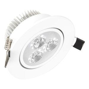 Dimbaar LED inbouwspot 3 watt witte behuizing en kantelbaar geeft warm wit licht