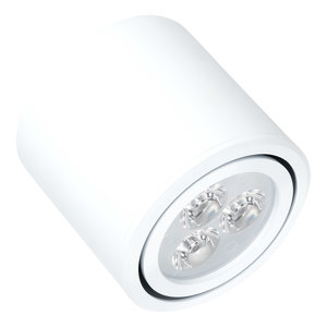 Niet dimbare cilinder vormige LED opbouw spot 3 watt in witte behuizing.