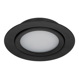 Niet Dimbare 3 watt Extreem lage ronde (15 mm) mini LED inbouw spot in zwarte behuizing, IP44 ook voor in de badkamer.