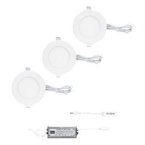 """Complete """"Plug & Play"""" set van 3 stuks dimbare witte led inbouwspots van 6 watt per LED spot. Ook voor badkamer IP44"""