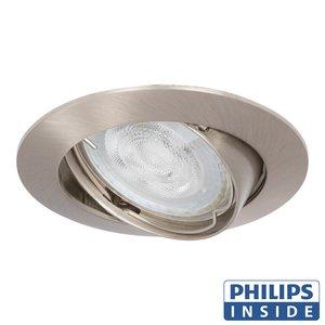 Philips Dim Tone LED Inbouw spot 4,9 watt kantelbaar 50 mm rond in matte aluminium afgeronde behuizing