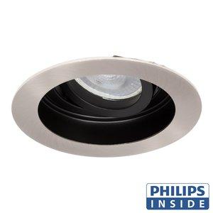 Philips LED Inbouw spot 4 watt kantelbaar 50 mm rond zwart met aluminium geborsteld