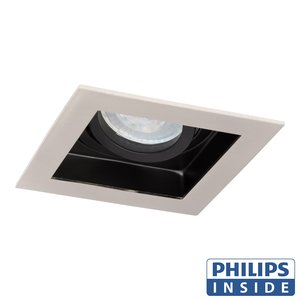 Philips LED Inbouw spot 5 watt kantelbaar 50 mm vierkant aluminium geborsteld met zwart