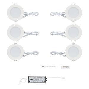 """Complete """"Plug & Play"""" set van 6 stuks witte dimbare led inbouwspots van 3 watt per LED spot. Ook voor badkamer IP44"""