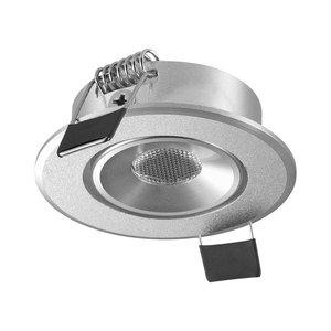 LED Inbouw Spot Dimbaar Speciaal voor binnen IP 21 Extra Warm Wit 2700 Kelvin 1 Watt vervangt 20 Watt Inbouw Diepte ↕ 30 mm Zilveren behuizing.