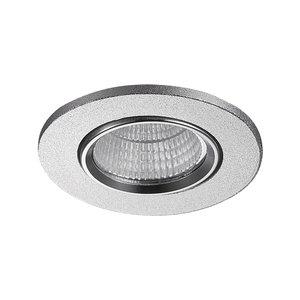 LED Inbouw Spot Dimbaar Badkamer Geschikt IP 44 Extra Warm Wit 2700 Kelvin 3 Watt vervangt 50 Watt Inbouw Diepte ↕ 25 mm Zilveren behuizing.